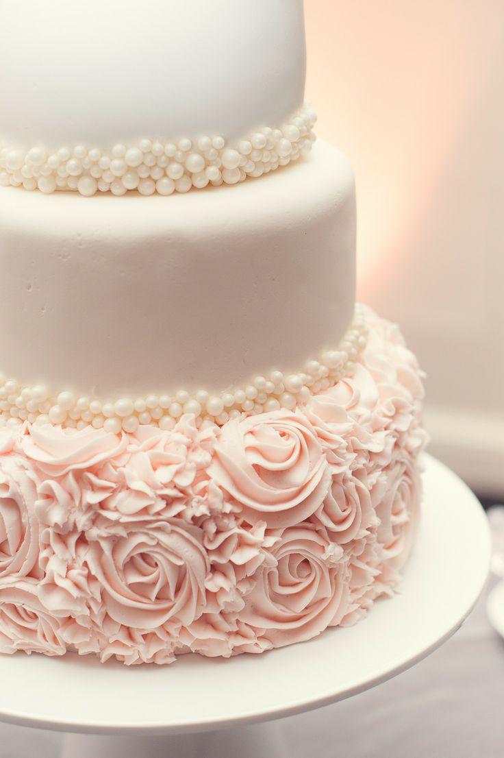 Wedding Cakes With Roses  Blush Wedding Edmonton Wedding