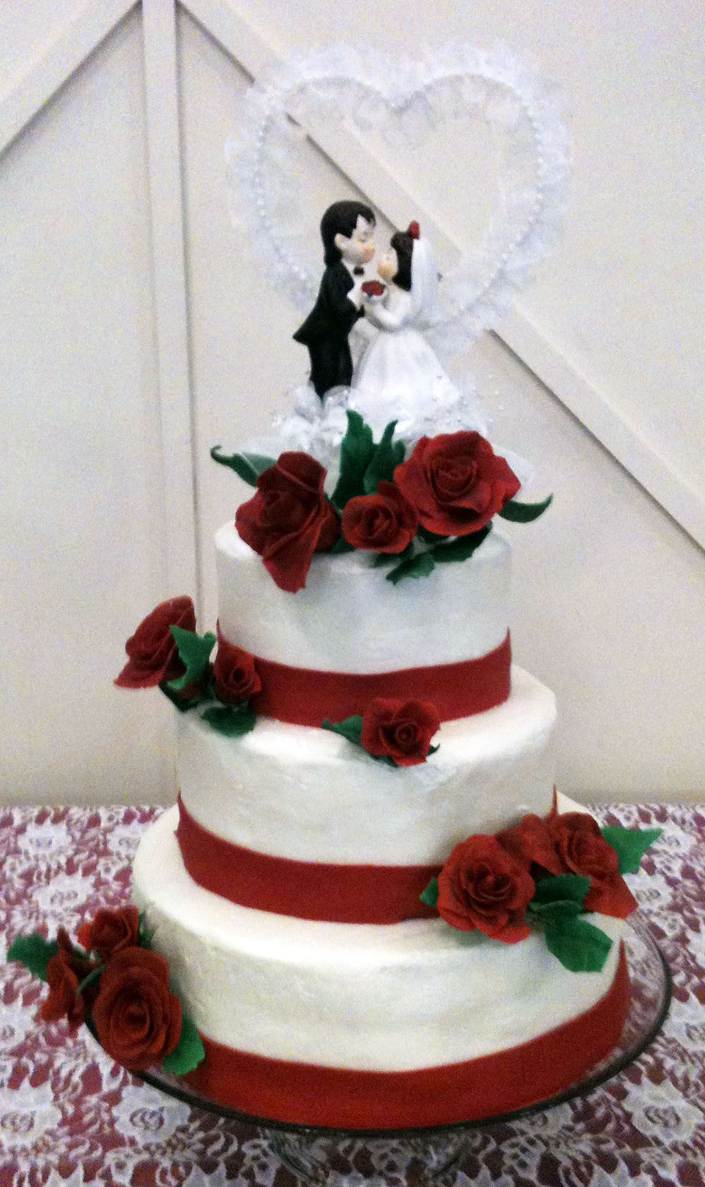 Wedding Cakes With Roses  Red Rose Wedding Cake