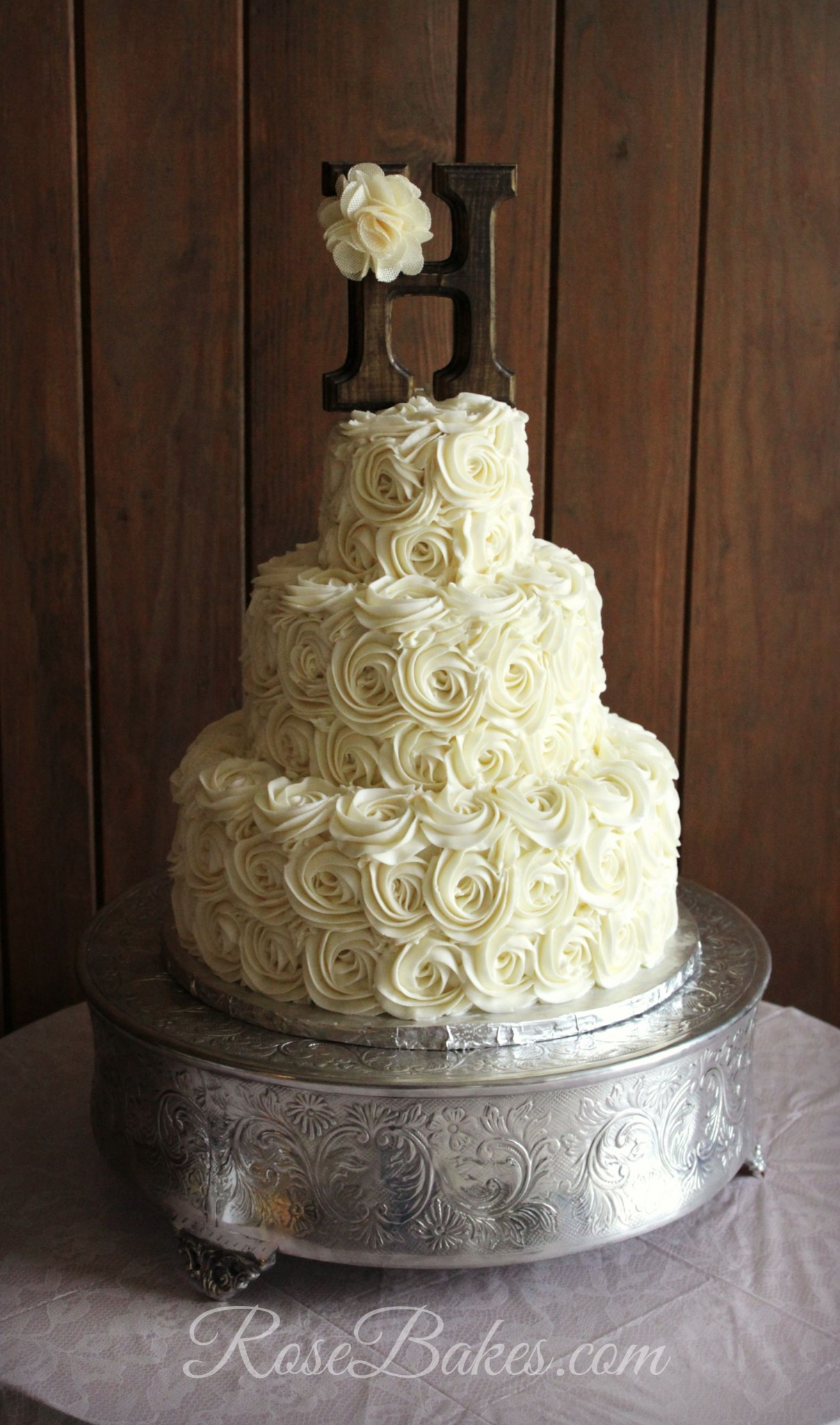 Wedding Cakes With Roses  Rustic Buttercream Roses Wedding Cake Rose Bakes