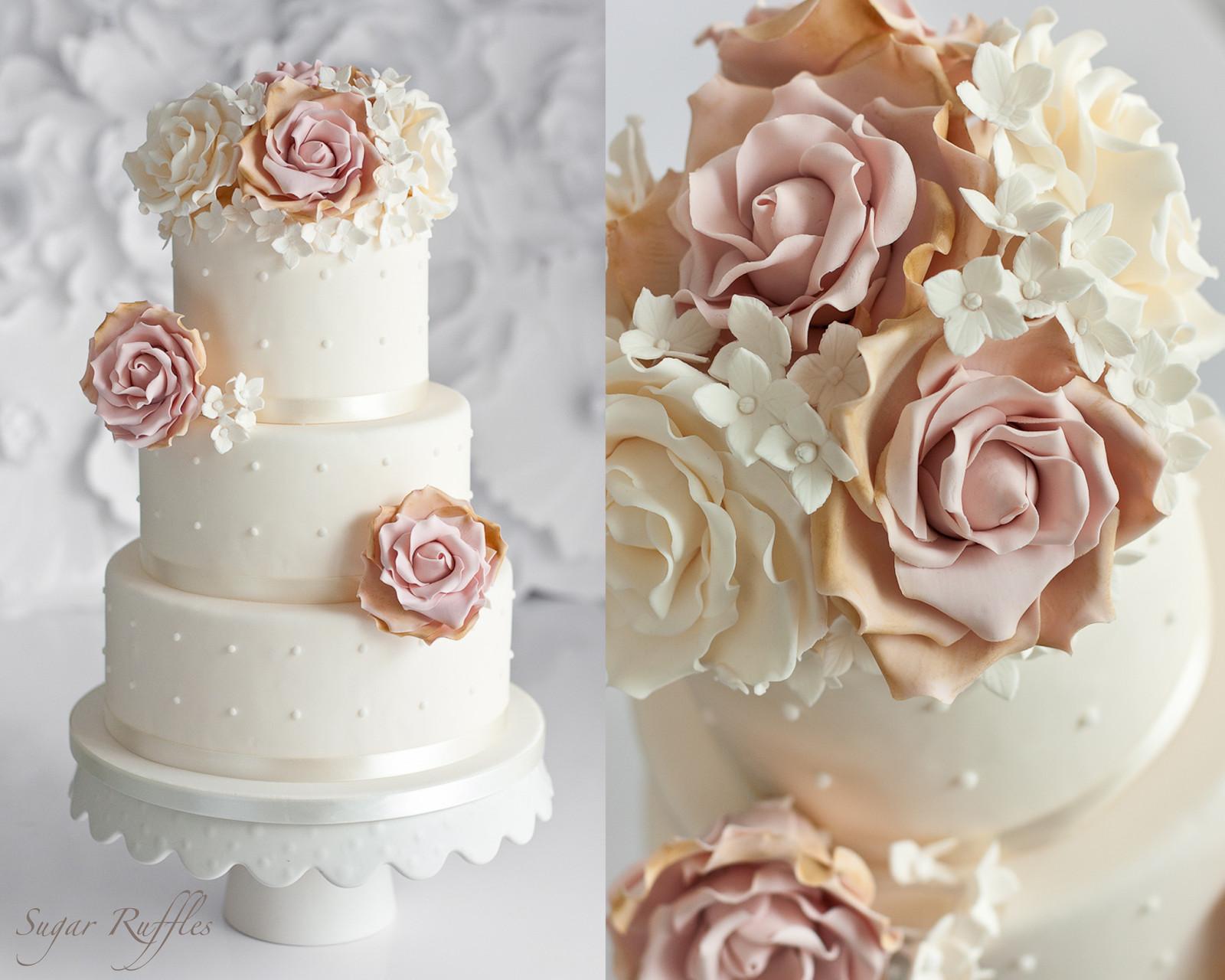 Wedding Cakes With Roses  Sugar Ruffles Elegant Wedding Cakes Barrow in Furness