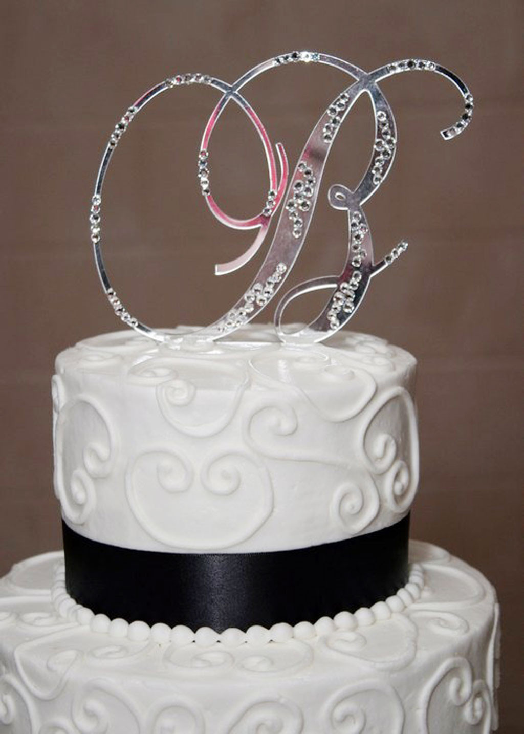 Wedding Cakes With Toppers  Initial B Wedding Bling Cake Topper Wedding Cake Cake