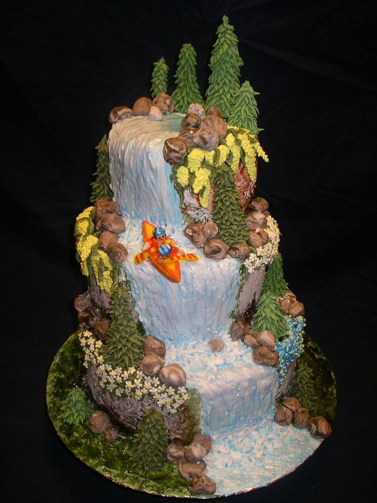 Wedding Cakes With Waterfalls  Great Adventure Trees and flowers are made of royal