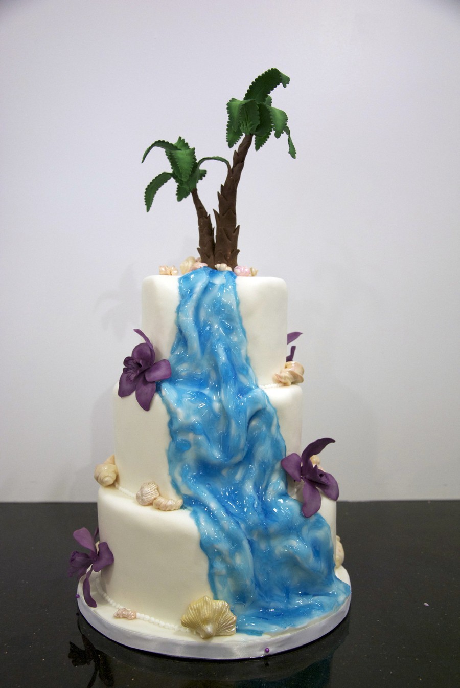 Wedding Cakes With Waterfalls  Tropical Waterfall Wedding Cake CakeCentral
