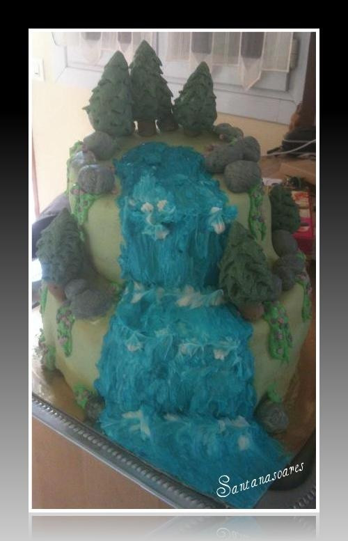Wedding Cakes With Waterfalls  waterfall cake Scenery Cakes Pinterest