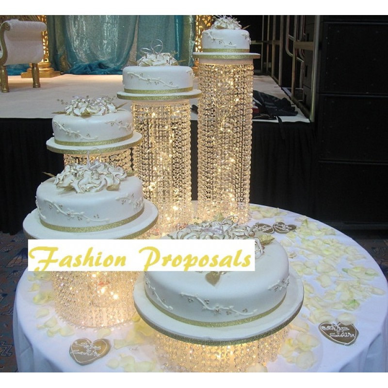 Wedding Cakes With Waterfalls  Wedding Cake Stand Cascade Waterfall Crystal Set 5
