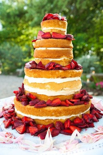 Wedding Cakes Without Frosting  Strawberry shortcake wedding cake without icing on the