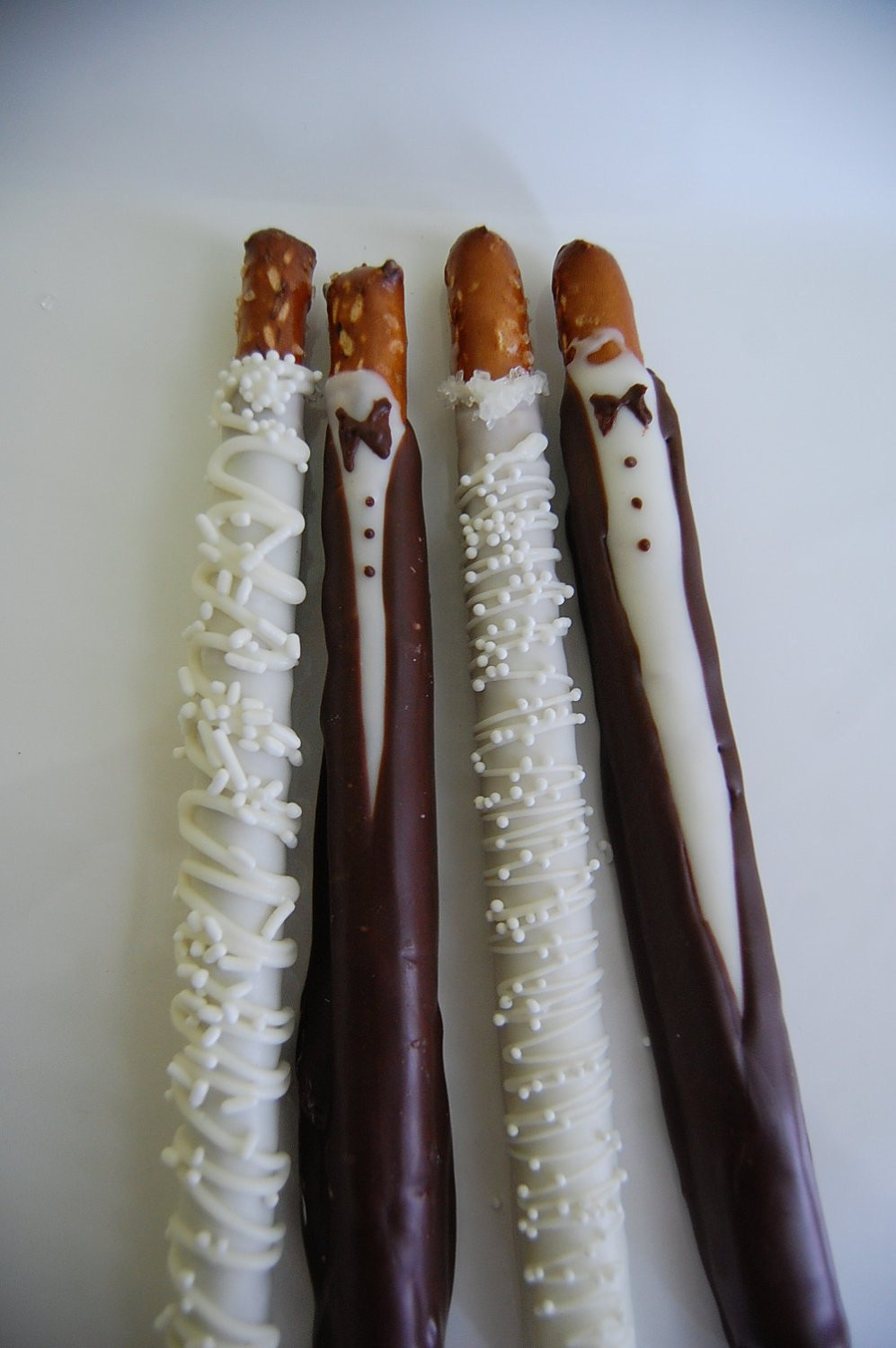 Wedding Chocolate Covered Pretzels  BRIDE and GROOM chocolate covered PRETZEL rods wedding favors