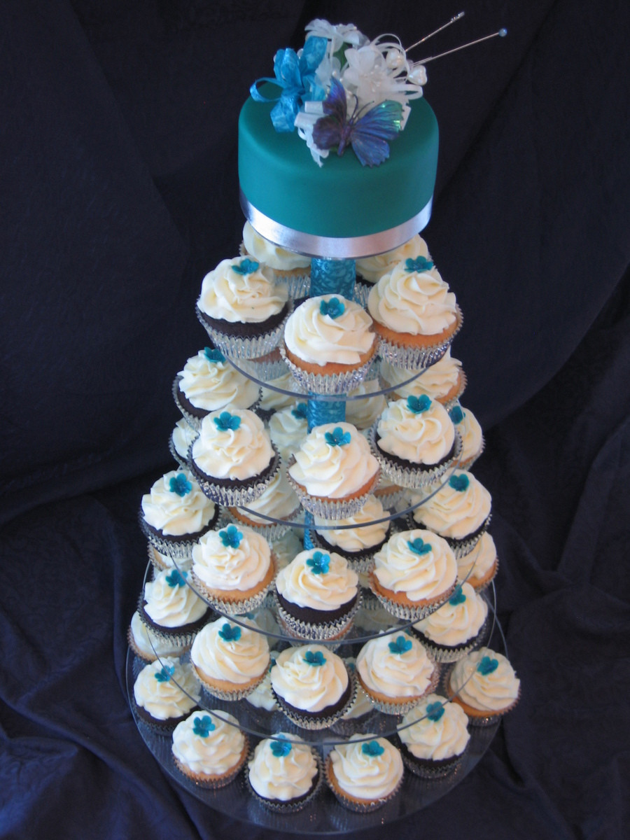 Wedding Cup Cakes  Ming peacock Blue Wedding Cupcake Tower CakeCentral