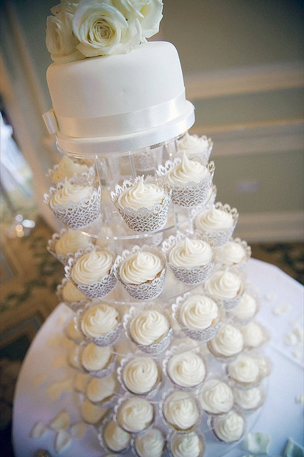 Wedding Cup Cakes Pictures  White Cupcake Tower Nottingham