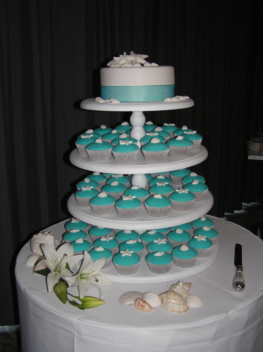 Wedding Cup Cakes  Beach Theme Wedding Cupcake Tower CakeCentral