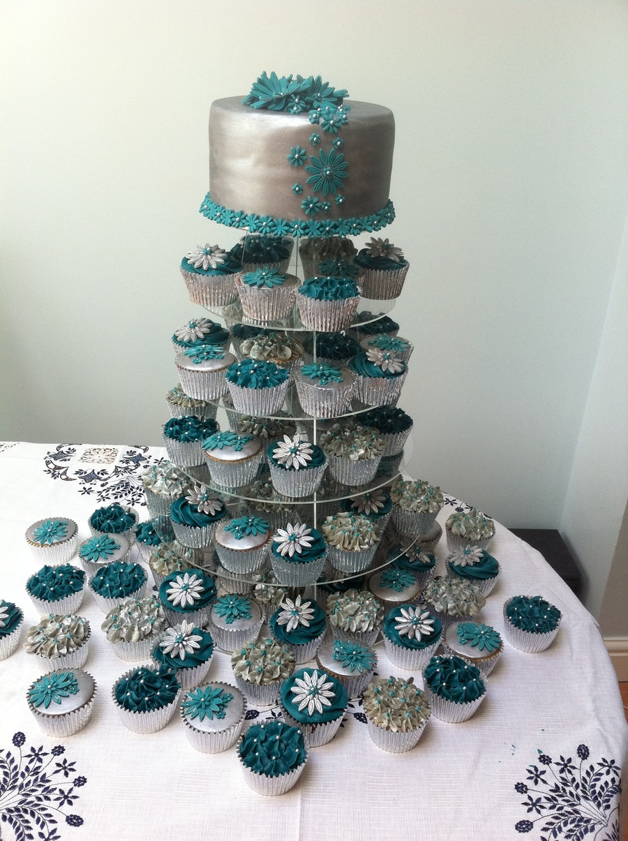 Wedding Cupcake Cakes  Teal And Silver Wedding Cake 80 Cupcakes CakeCentral