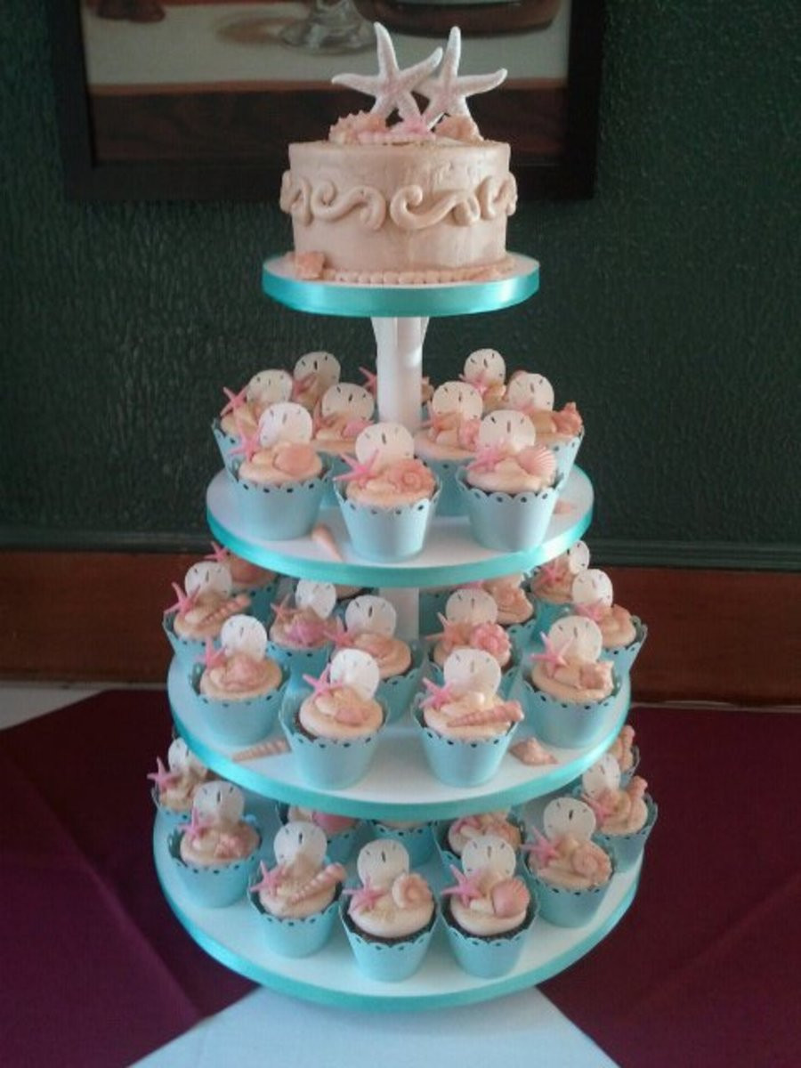 Wedding Cupcakes Pictures  Beach Wedding Bridal Shower Cupcakes CakeCentral