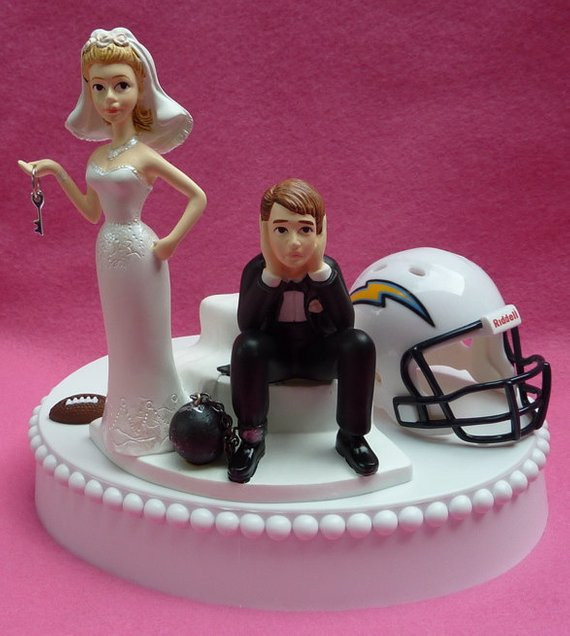 Wedding Cupcakes San Diego  Wedding Cake Topper San Diego Chargers SD Football Themed Ball