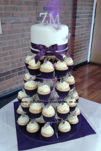 Wedding Cupcakes Towers  Purple Cupcake Tower Wedding Cake