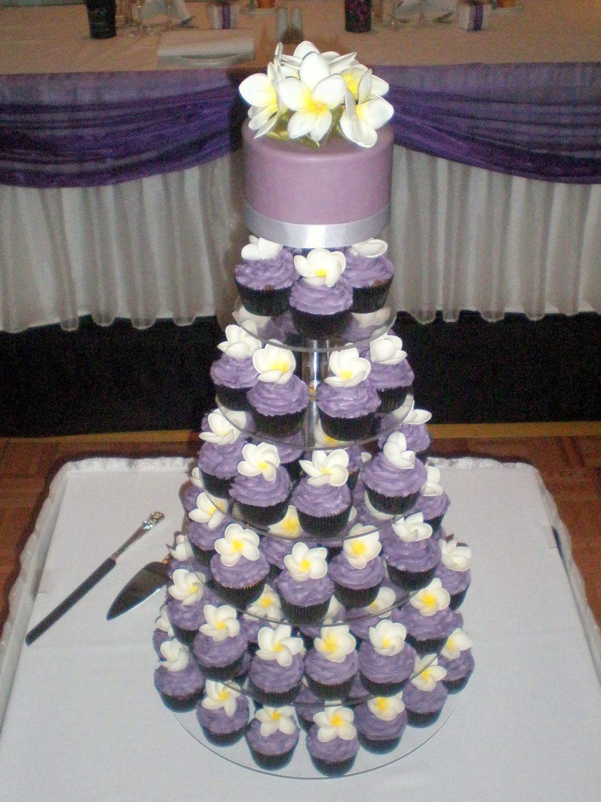 Wedding Cupcakes Towers  Sugar Siren Cakes Mackay Purple Frangipani Wedding