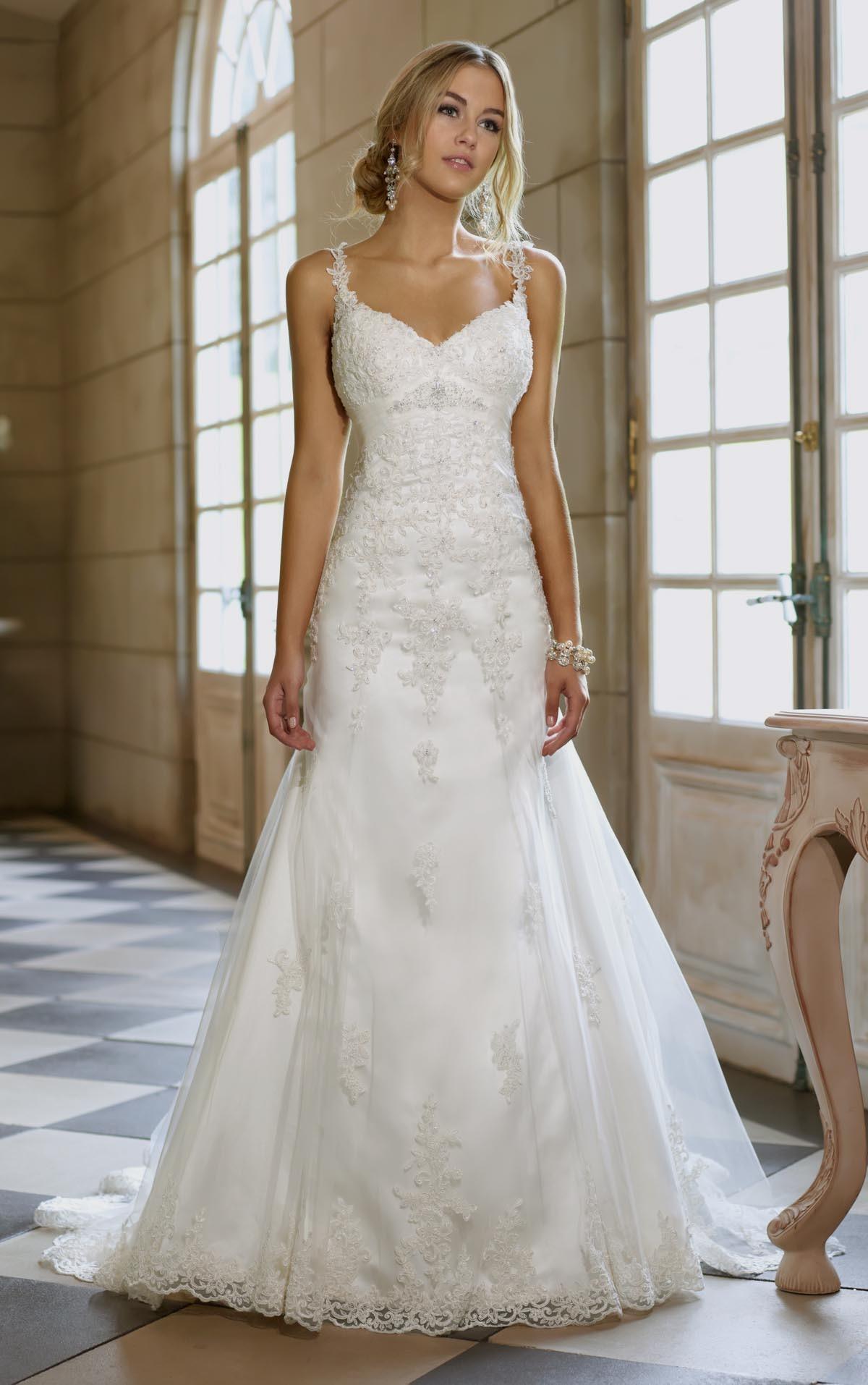 Wedding Dress With Spaghetti Straps  a line wedding dress with lace straps Naf Dresses
