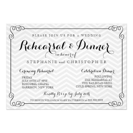 Wedding Rehearsal Dinner Invitations  Chic Chevron Wedding Rehearsal & Dinner Invitation