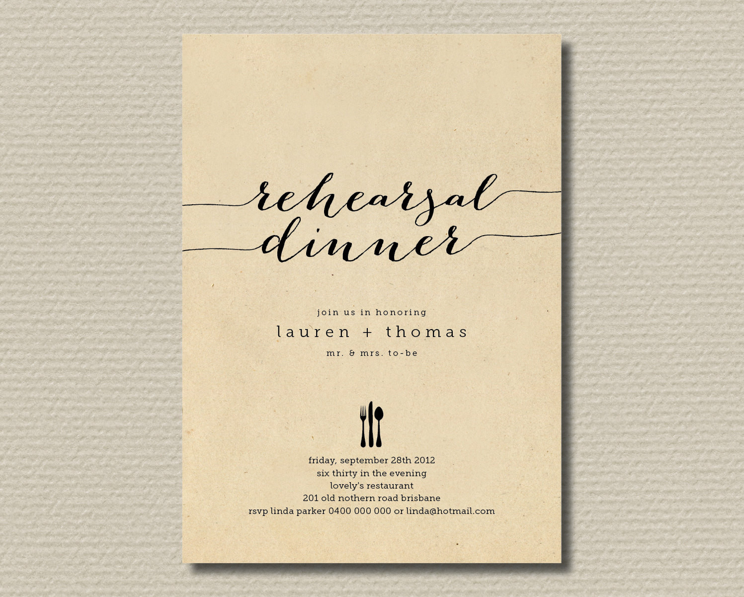 Wedding Rehearsal Dinner Invitations  Printable Wedding Rehearsal Dinner Invitation by
