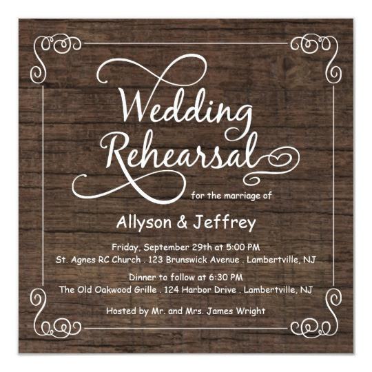 Wedding Rehearsal Dinner Invitations  Rustic Wood Wedding Rehearsal Dinner Invitations