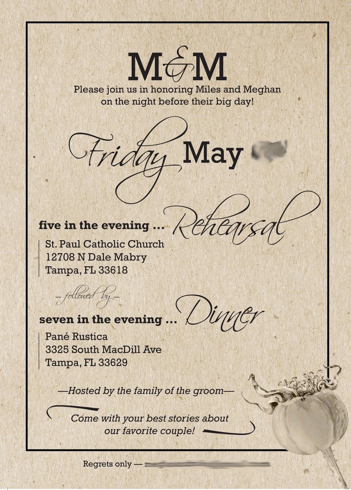 Wedding Rehearsal Dinner Invitations  Rehearsal Dinner Details