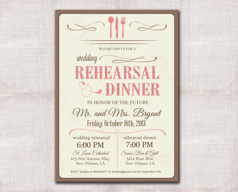 Wedding Rehearsal Dinner Invitations  Wedding Rehearsal Dinner Invitation custom printable 5x7