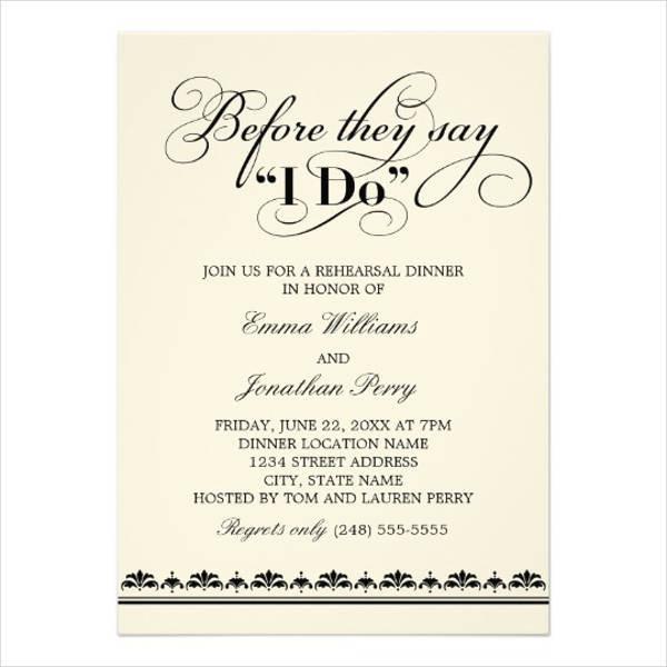 Wedding Rehearsal Dinner Invitations  40 Wedding Invitation Formats PSD AI Vector EPS