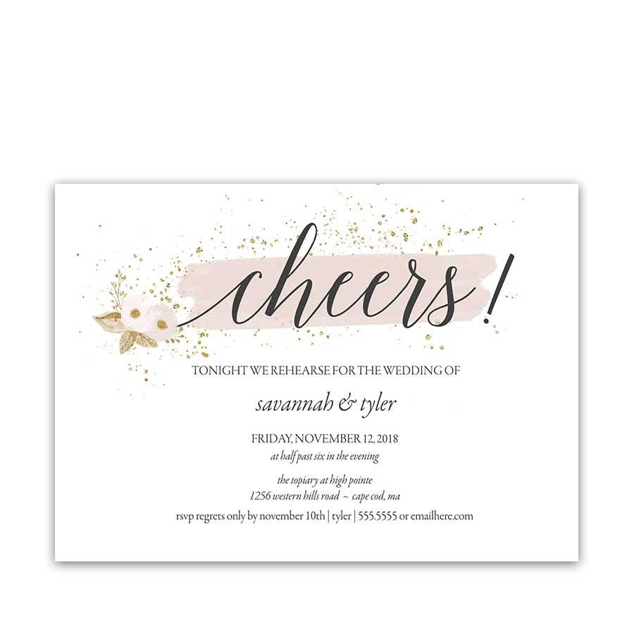 Wedding Rehearsal Dinner Invitations  Floral Wedding Menu Blush and Gold Flowers Glittery
