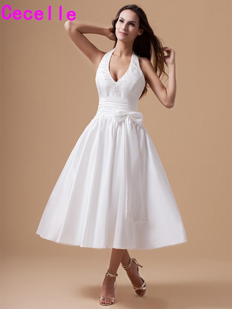 Wedding Rehersal Dinner Dresses  Vintage Tea Length Taffeta Wedding Dresses Halter Straps