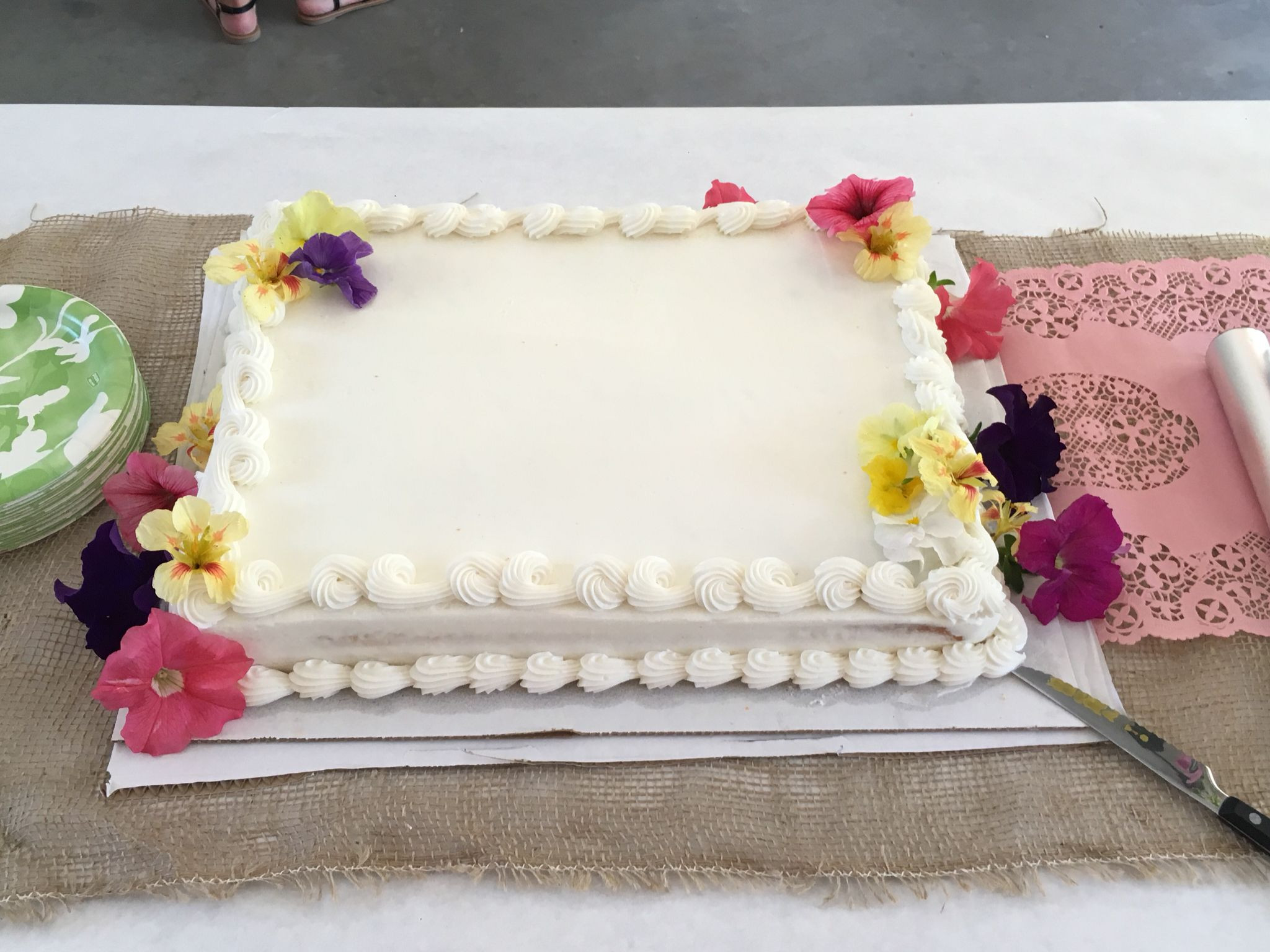 Wedding Sheet Cake Costco  Costco white sheet cake with fresh flowers for graduation