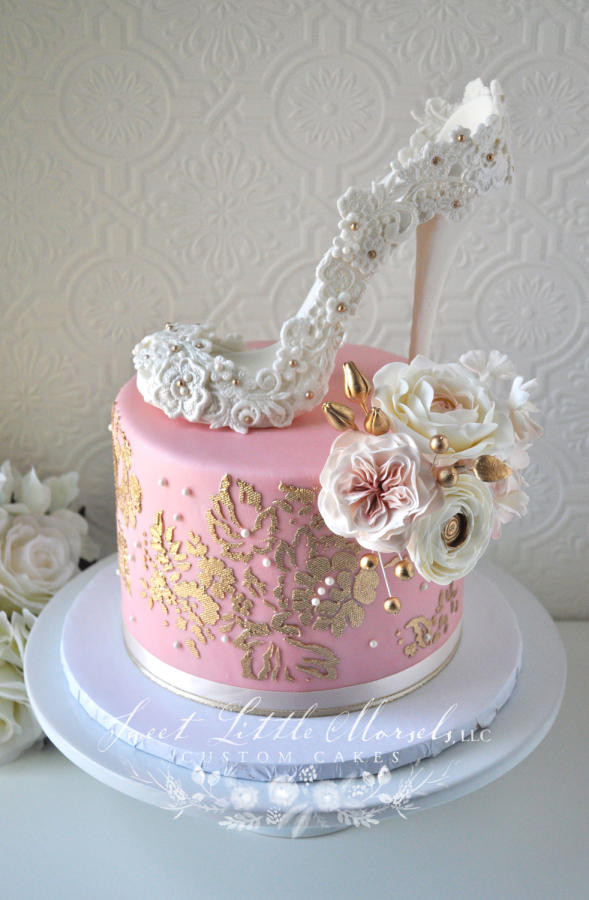 Wedding Shower Cakes Images  Blush Pink and Gold Bridal Shower Cake cake by Stephanie