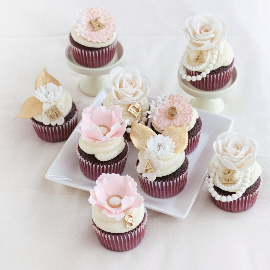 Wedding Shower Cup Cakes  Romantic Pink And Gold Bridal Shower Cupcakes