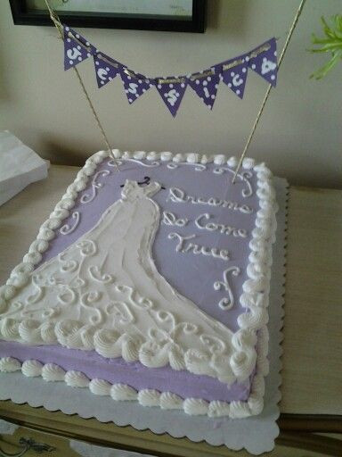 Wedding Shower Sheet Cake  Bridal shower sheet cake with a DIY banner with bride s