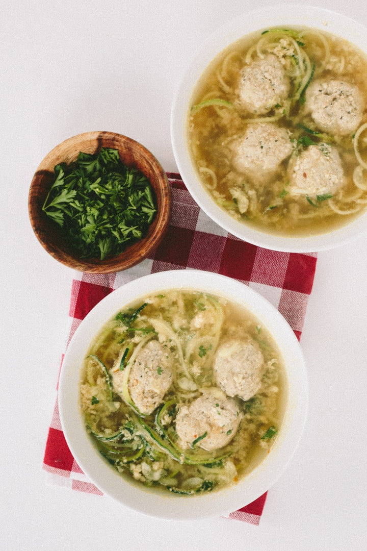 Wedding Soup Noodles  Gluten Free Italian Wedding Soup with Zucchini Noodles