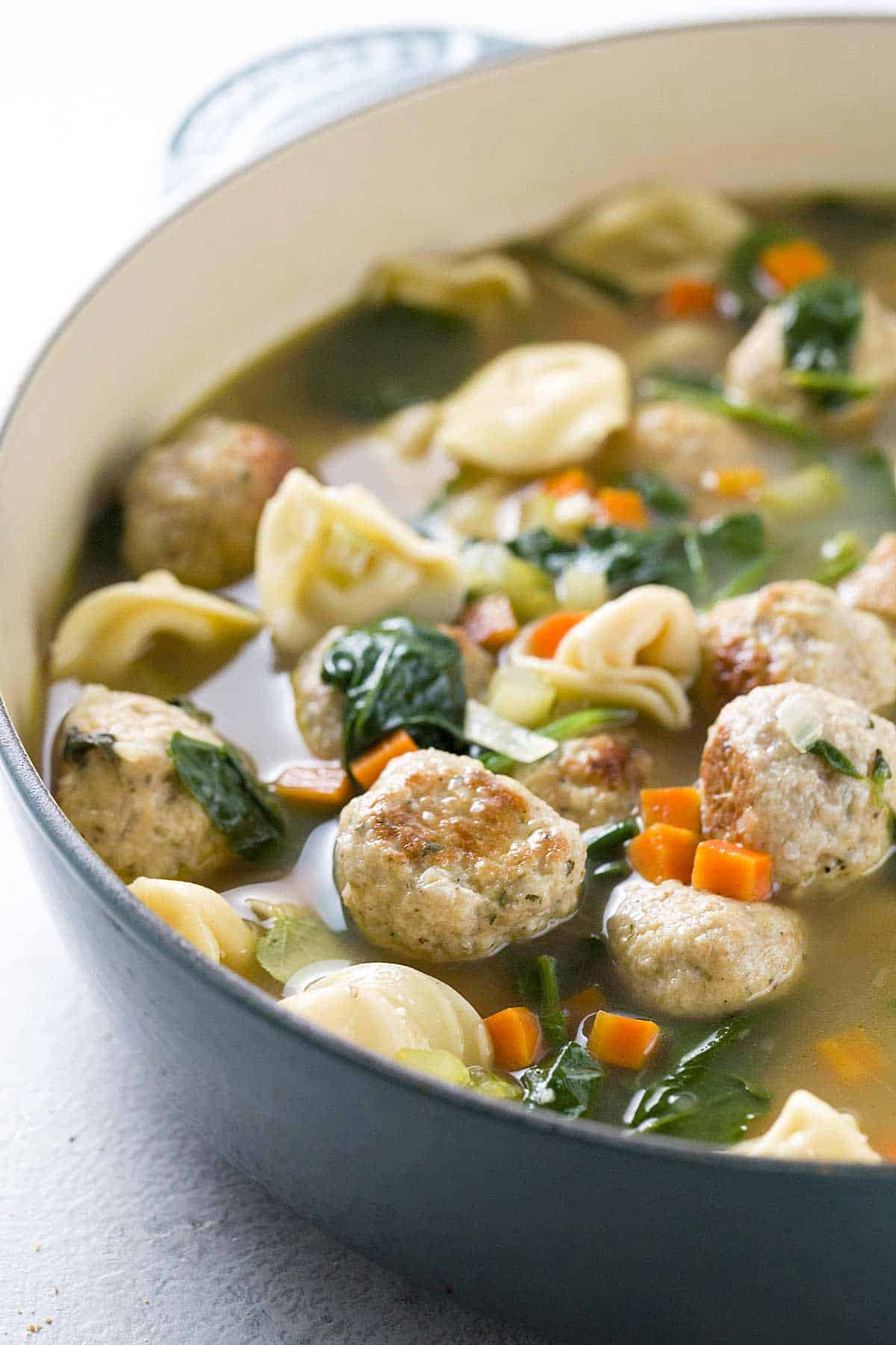 Wedding Soup With Chicken  Italian Wedding Soup with Turkey Meatballs and Tortellini