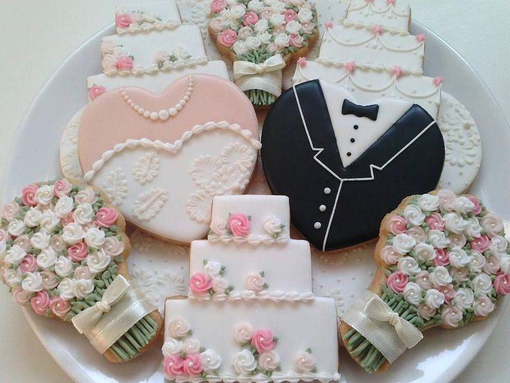 Wedding Sugar Cookies Decorating Ideas  203 best Wedding cookies images on Pinterest