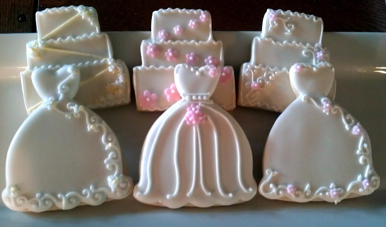 Wedding Sugar Cookies Decorating Ideas  24 Decorated Sugar Cookies Wedding Dress Cake Bridal Shower