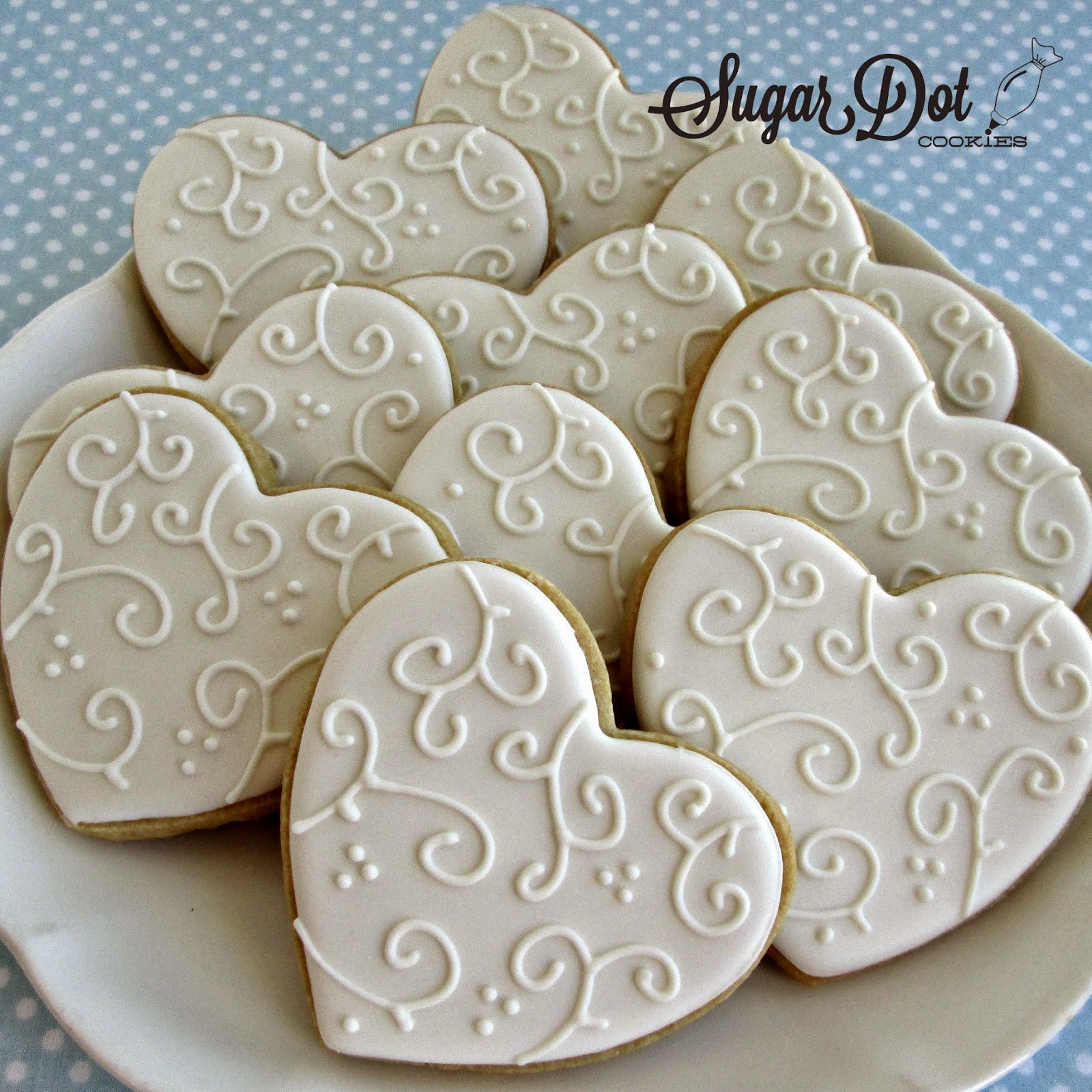 Wedding Sugar Cookies Decorating Ideas  Elegant white on white So pretty for a wedding
