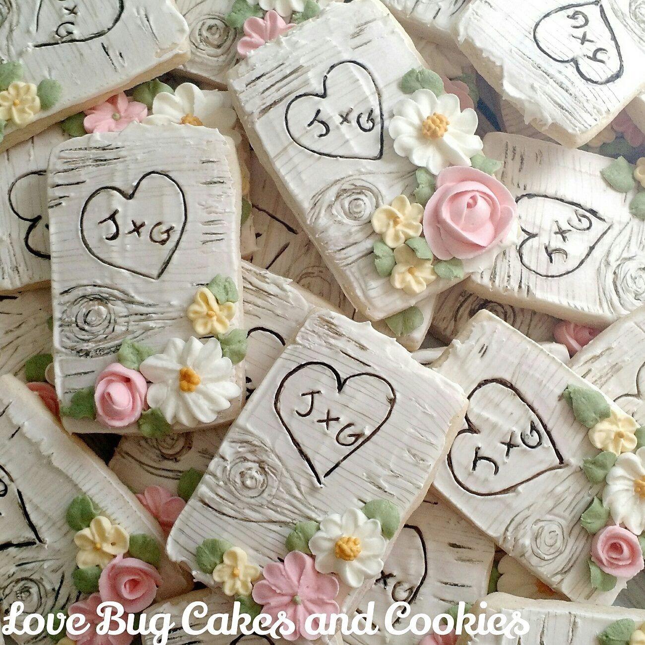 Wedding Sugar Cookies Decorating Ideas  Rustic chic wedding cookies or anniversary cookies