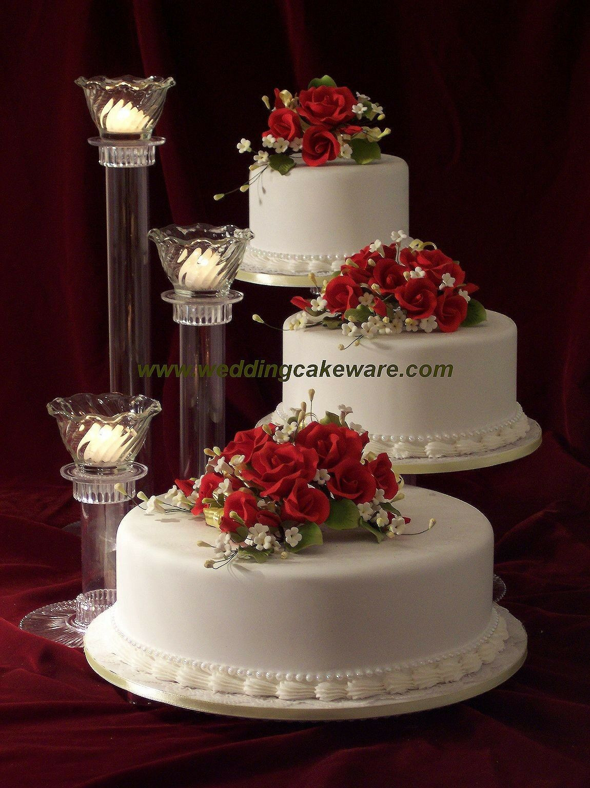 Wedding Tiered Cakes  3 TIER CASCADING WEDDING CAKE STAND STANDS 3 TIER CANDLE