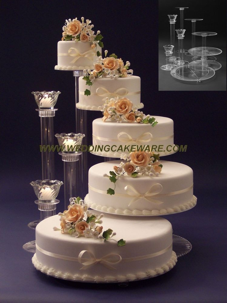 Wedding Tiered Cakes  5 TIER CASCADING WEDDING CAKE STAND STANDS 3 TIER CANDLE