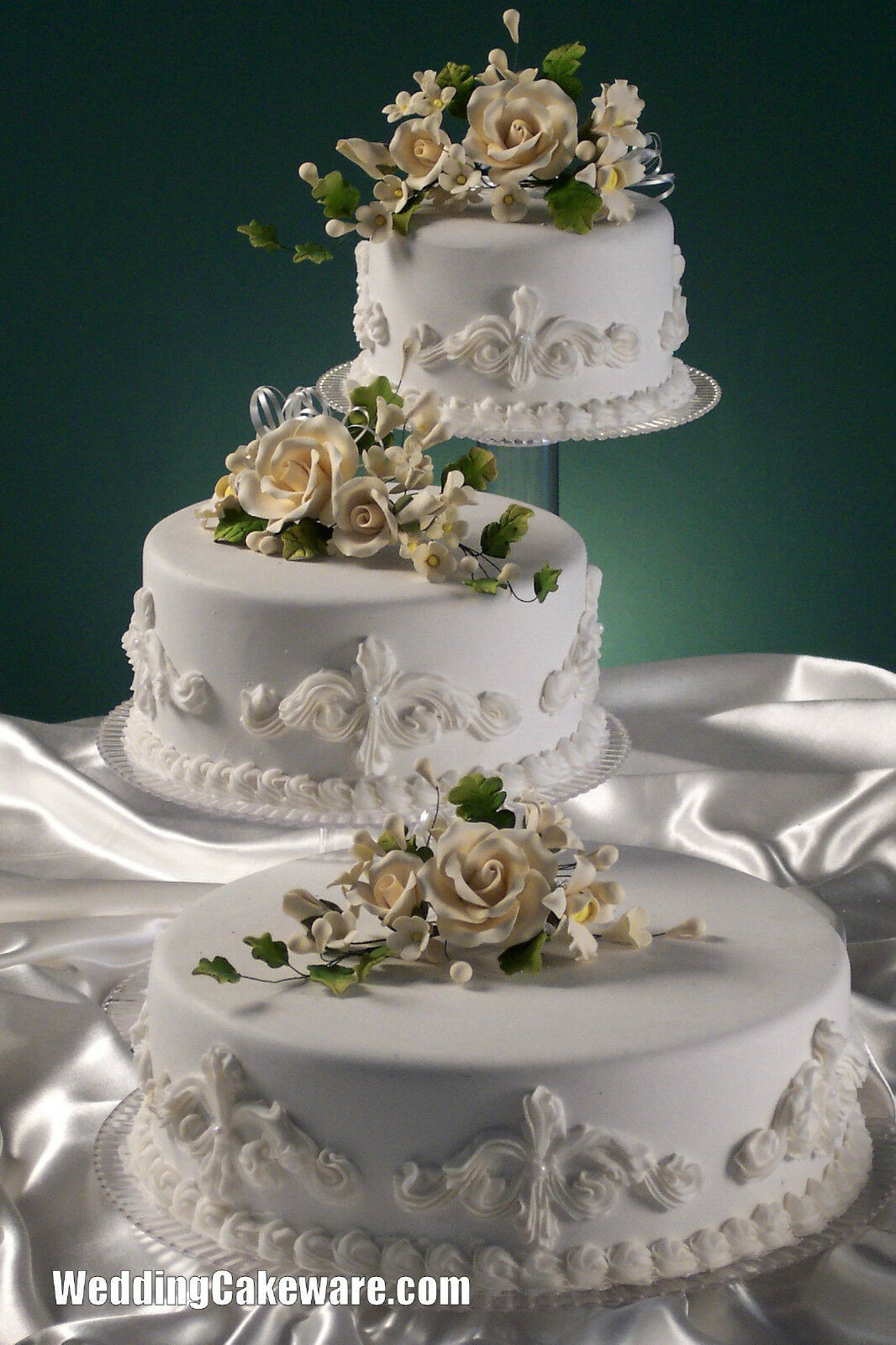 Wedding Tiered Cakes  3 TIER CASCADING WEDDING CAKE STAND STANDS