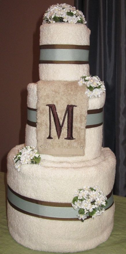 Wedding Towel Cakes Ideas  Wedding Towel Cake Gift for a bridal shower Personalized