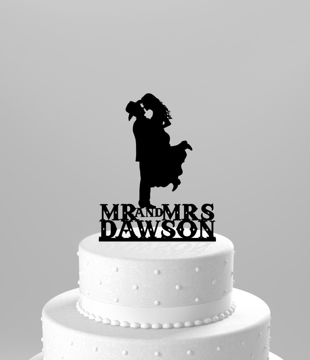 Western Cake Toppers For Wedding Cakes  Country Western Wedding Cake Topper Silhouette Cowboy with Hat