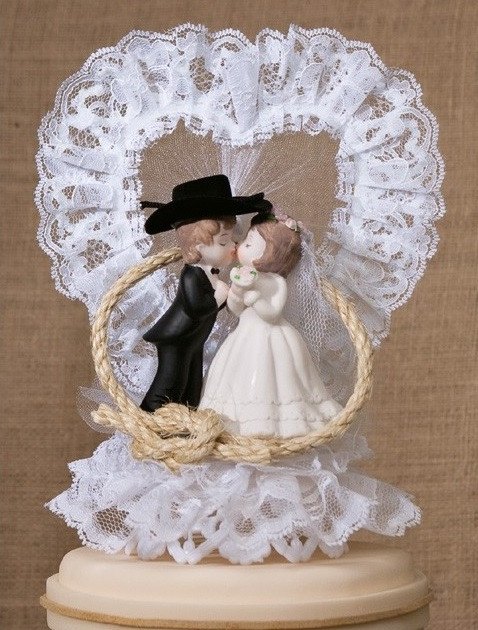 Western Cake Toppers For Wedding Cakes  Western Couple in Lasso Cake Topper Western Wedding Cake