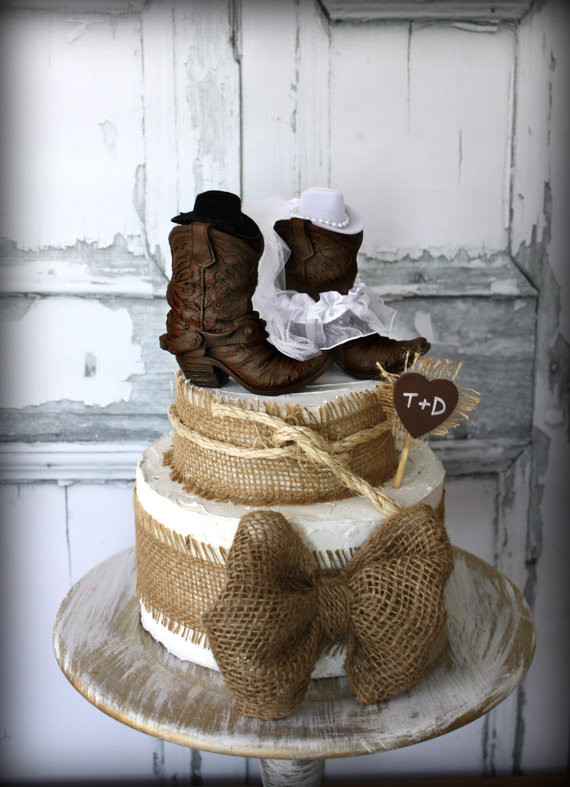 Western Cake Toppers For Wedding Cakes  Cowboy boots cowgirl boots wedding cake topper western