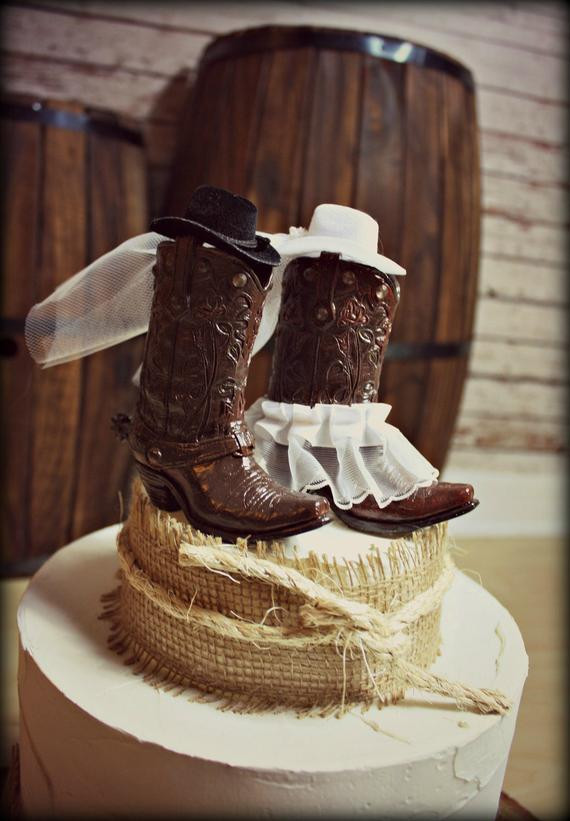 Western Cake Toppers For Wedding Cakes  Cowboy Boots Wedding Cake Topper Western Themed