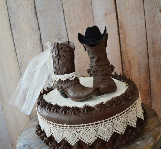 Western Cake Toppers For Wedding Cakes  Western Wedding Cowboy Boot Cake Topper Western Bride And