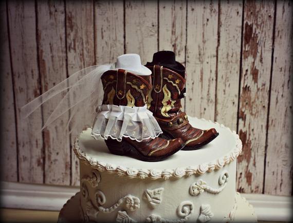 Western Theme Wedding Cakes  Cowboy Boots Wedding Cake Topper Western by MorganTheCreator