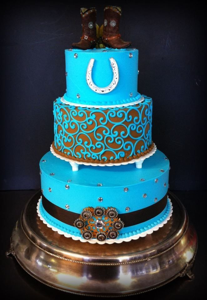 Western Themed Wedding Cakes  Teal and brown western wedding cake by Iris Candelaria