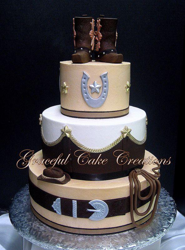 Western Themed Wedding Cakes  Elegant Western Themed Wedding Cake with Cowboy Boot Cake